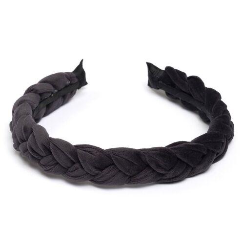 DARK Geflochtenes Samt-Haarband Charcoal
