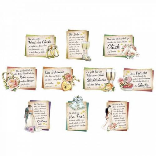 Ideen mit Herz 3-D Motive, Zur Hochzeit, 6,5-10cm, 10 Motive