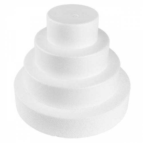 Ideen mit Herz Styropor-Torte, 4 Styropor-Podeste, Ø25 cm, Ø20 cm, Ø15 cm, Ø10 cm