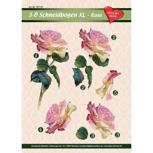 Ideen mit Herz 3-D Bogen XL-Rose, zum Ausschneiden