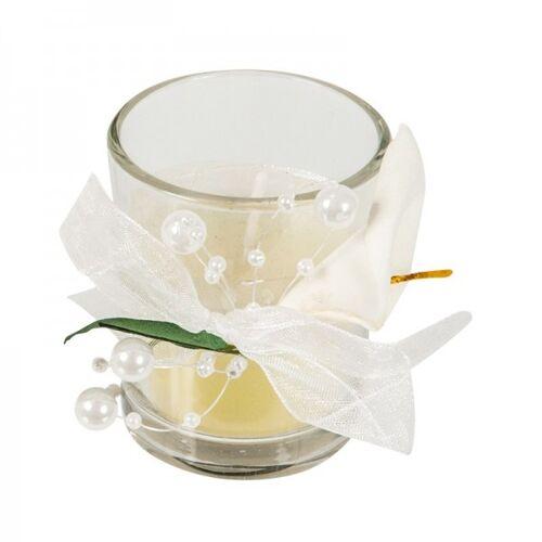 Ideen mit Herz Hochzeits-Duftkerze im Glas, Ø 4,5-5cm , 6cm hoch, Calla