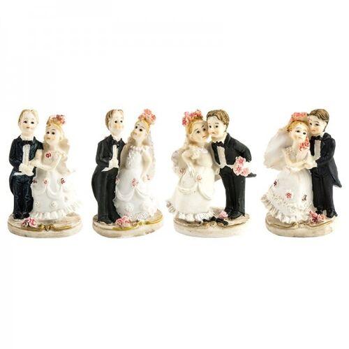 Ideen mit Herz Deko-Hochzeitspaare, Steinharz, 5 cm, 4 Stück