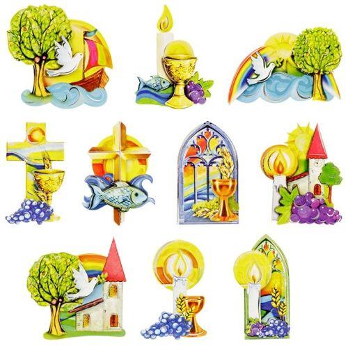 Ideen mit Herz 3-D Motive, Kirchliche Anlässe, Silber-Gravur, 5-11 cm, 10 Motive