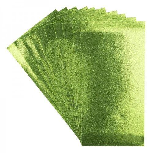 Ideen mit Herz Wachsplatten, 10 Stück, hellgrün, glitzer