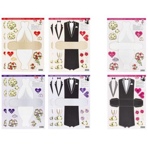 Ideen mit Herz Stanzbogen, Hochzeits-Geschenkboxen, DIN A4, 6 verschiedene Designs, 10 Stück