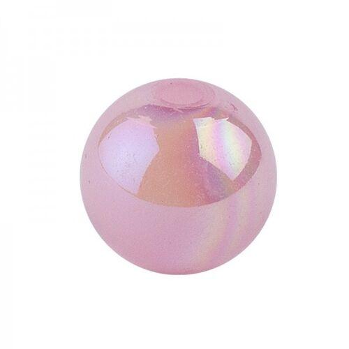 Ideen mit Herz Perlen, irisierend, Ø 8mm, rosa-irisierend, 100 Stk.