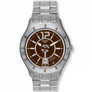 Swatch Irony Big In A Brown Mode Herrenuhr in Silber YTS406G