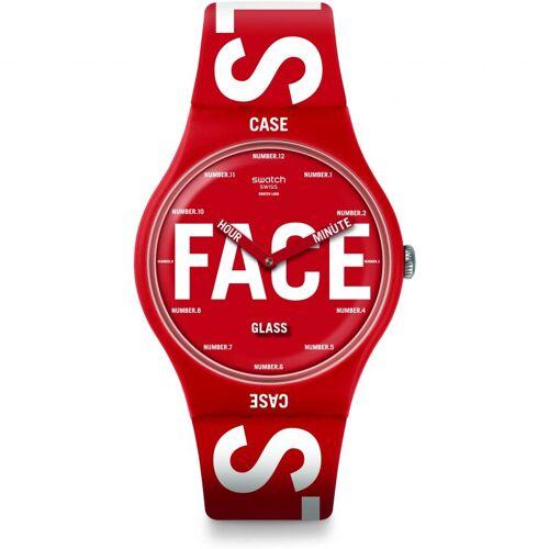 Swatch Bau Swatch Swatchid Unisexuhr in Rot SUOR115