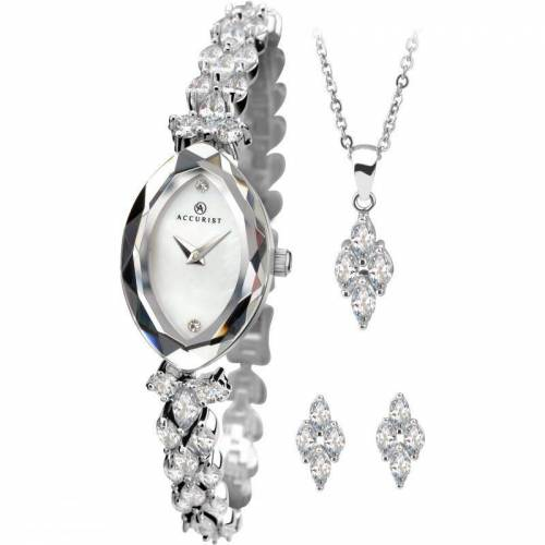Accurist Accurist Womens 4 Piece Gift Set Damenuhr in Silber 8097G