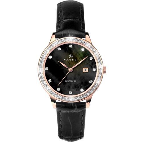 Accurist Accurist Womens Diamond Strap Watch Damenuhr in Schwarz 8235