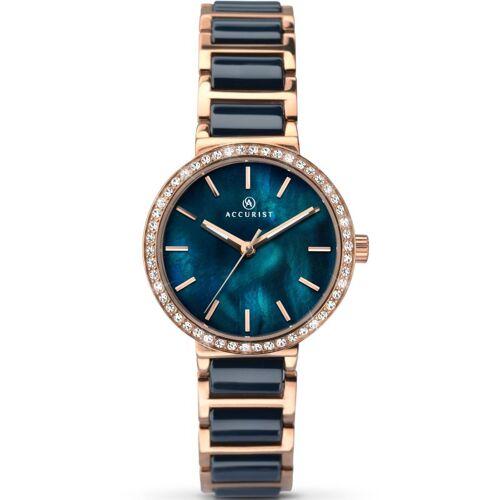 Accurist Accurist Womens Ceramic Bracelet Watch Damenuhr in Blau 8087