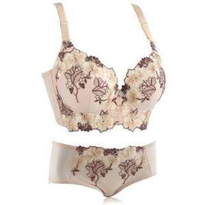 JVL Floral & Leaf Embroidered Bra + Panty