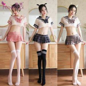 Femmu Student Lingerie Set: Sailor-Collar Sheer Top + Pleated Mini Skirt + Thong + Tie