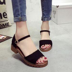 Laceuplux Ankle-Strap Faux Suede Sandals