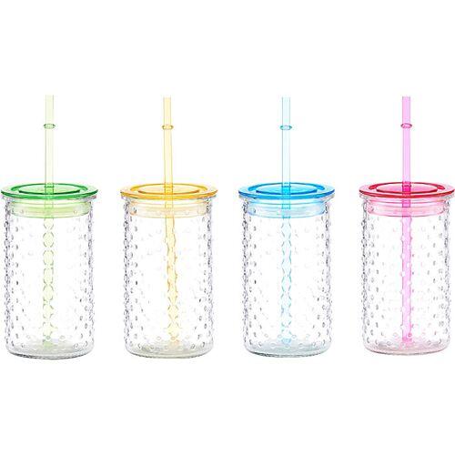 Trinkglas mit Strohhalm Dots im 4er-Pack