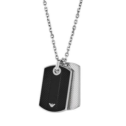 Emporio Armani Halskette aus Edelstahl & Silikon mit Onyx
