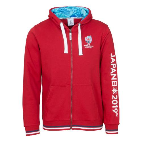 Tri Merchandise Rugby World Cup Zip Through Hoodie - Red - Mens