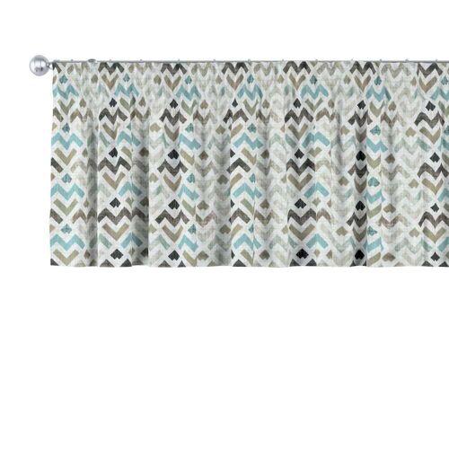 Dekoria Kurzgardine mit Kräuselband, blau-beige, 130 × 40 cm, Modern (141-93)