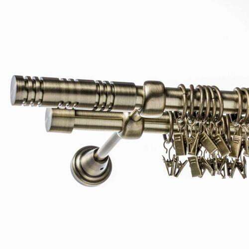 Dekoria Gardinenstange Elis altgold zweiläufig 160 cm, 160 cm