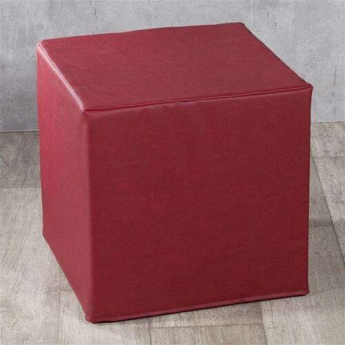 Dekoria Bezug für Sitzwürfel, helles Bordeaux, Bezug für Sitzwürfel 40 × 40 × 40 cm, Öko-Leder (104-49)