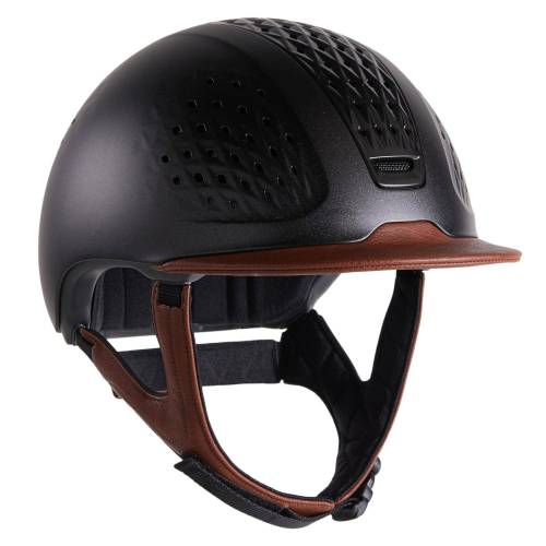 FOUGANZA Reithelm 900 braun/schwarz mit Helmtasche