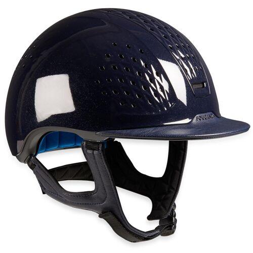 FOUGANZA Reithelm 900 Glossy + Tasche blau