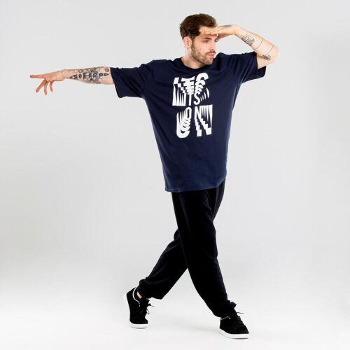 Domyos Tanz-Shirt Urban Dance Herren mit Grafikprints marineblau BLAU