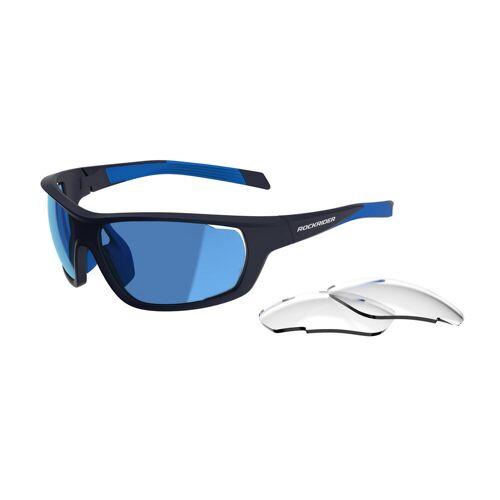 ROCKRIDER MTB Sonnenbrille XC Pack blaue, wechselbare Gläser Kat. 0+3 BLAU