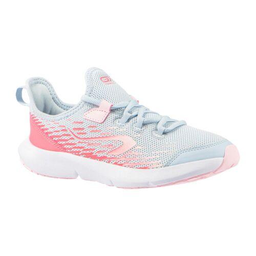 Kalenji Laufschuhe Leichtathletik Schnürsenkel AT Flex Run Kinder grau/rosa BLAU/GRAU/ROSA