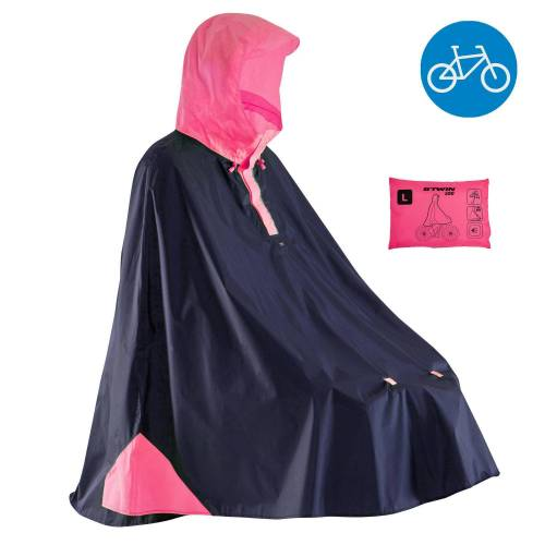 B'twin Fahrrad-Regenponcho City 500 blau/rosa