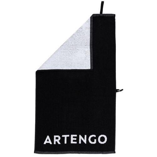 ARTENGO Handtuch Tennis TS 100 schwarz/weiß