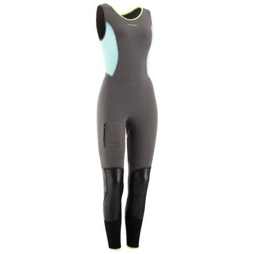 MASKOON Canyoning-Neoprenanzug Long John 5mm Damen blau/grau