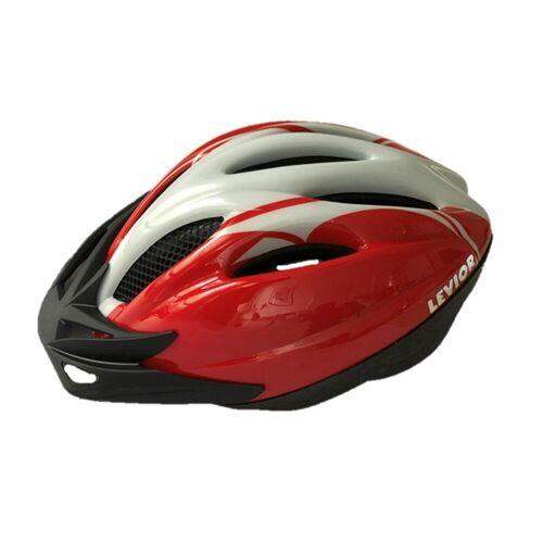 DECATHLON Fahrradhelm MTB Levior rot/silber