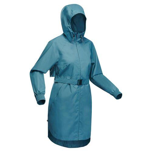 QUECHUA Regenjacke Lang Naturwandern Raincut Damen blau