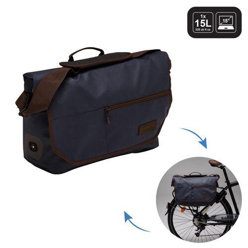 ELOPS Fahrradtasche Businessbag 500 15l blau/braun BLAU