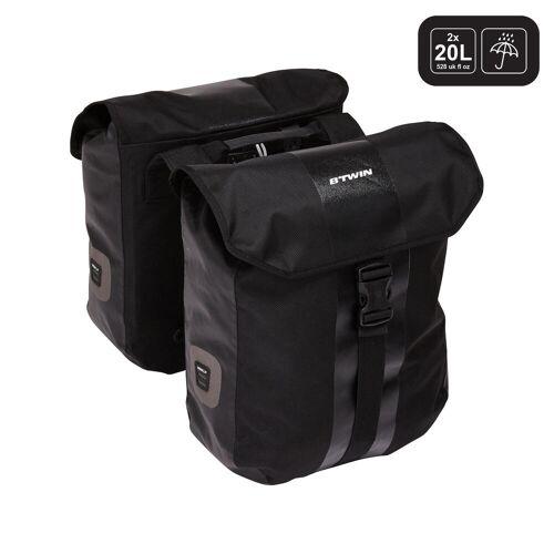 ELOPS Doppel-Fahrradtasche 540 2 × 20 Liter wasserdicht für Gepäckträger SCHWARZ