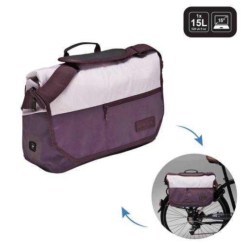 ELOPS Fahrradtasche Businessbag 500 15l lila/beige