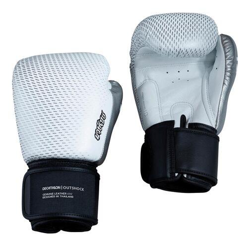 OUTSHOCK Handschuhe Thaiboxen Leder 500 weiss/silber GRAU/SCHWARZ