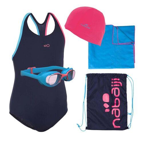 NABAIJI Schwimm-Set 100 Start Mädchen Badeanzug, Brille, Kappe, Handtuch, Tasche blau
