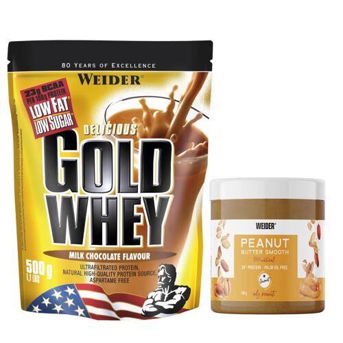 WEIDER Proteinpulver GOLD WHEY 500g + Erdnussbutter 180g EINHEITSFARBE