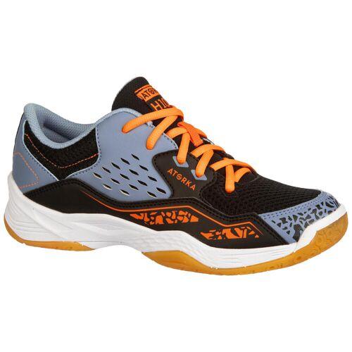ATORKA Handballschuhe H100 mit Schnürsenkeln Kinder orange/grau BLAU/GRAU/ORANGE