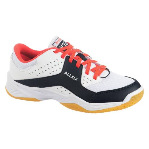ALLSIX Volleyballschuhe VS100 Schnürsenkel Kinder weiss/blau/rosa BLAU/ROSA/ROT/WEIß