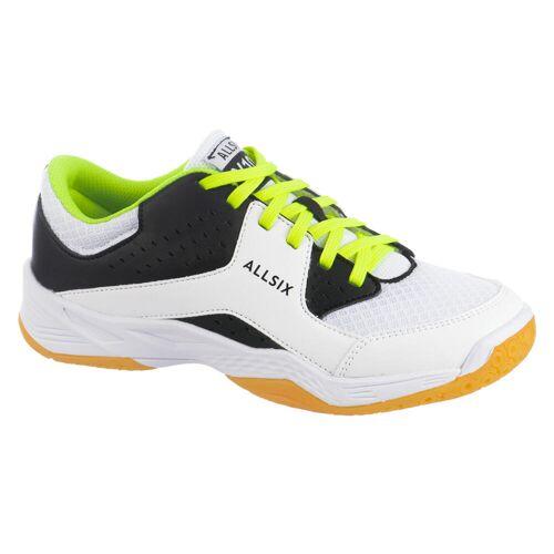 ALLSIX Volleyballschuhe VS100 Schnürsenkel Kinder weiß/schwarz/gelb GELB/SCHWARZ/WEIß