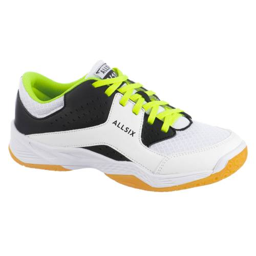 ALLSIX Volleyballschuhe VS100 Schnürsenkel Kinder weiß/schwarz/gelb