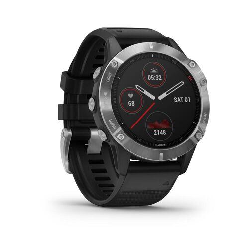 Garmin GPS-Multisportuhr Fenix 6 silber Armband schwarz