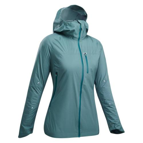 QUECHUA Regenjacke Speed Hiking FH500 Rain Ultraleicht Damen blau BLAU/GRÜN/TÜRKIS