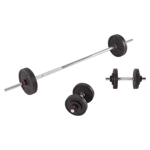 Domyos Hantelset, Langhantelset mit Stangen und Gewicht Krafttraining 50kg