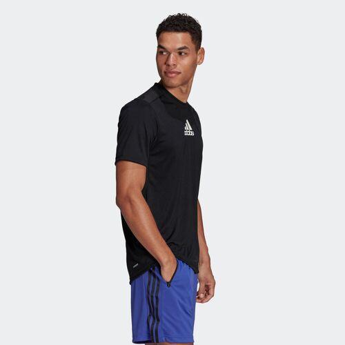 Adidas T-Shirt Fitness schwarz 3 Streifen