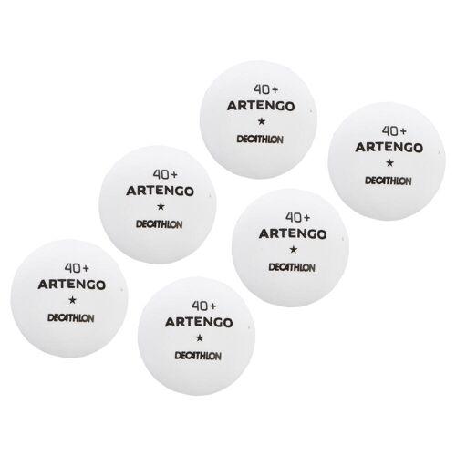 Artengo Tischtennisbälle TTB 100 1* 40+ 6er-Dose weiß