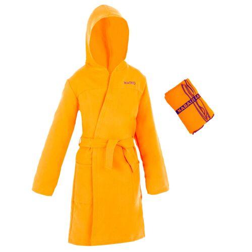 WATKO Set Bademantel und Mikrofaser-Badetuch L 80 × 130cm Kinder orange ORANGE